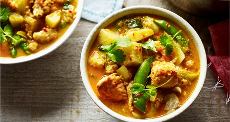 Fragrant Malaysian fish and potato light curry recipe