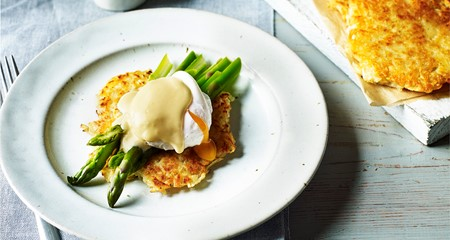 Potato rosti with asparagus and poached egg recipe