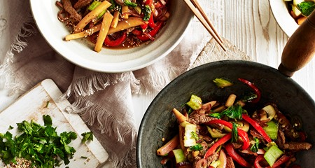 Hot wok potato and beef stir-fry recipe