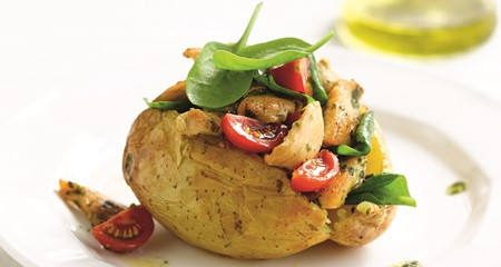 Chicken and pesto jacket potato recipe