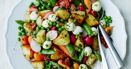 Alex Mackay's spring vegetables with roast King Edwards, basil, mozzarella & sunblush tomatoes recipe