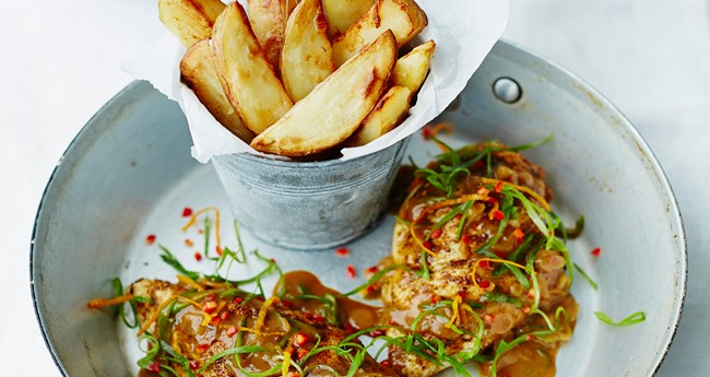 Alex Mackay's midweek jerk roast chicken & spicy King Edward chips recipe