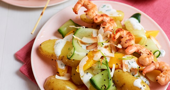 Chicken, prawn and mango potato kebabs recipe