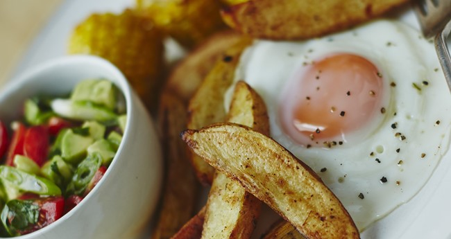 Mexican baked wedges and corn with eggs and avocado salsa recipe by Jo Pratt