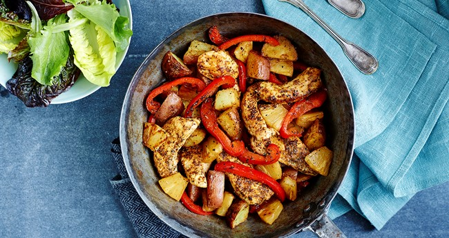 Potato Stir Fry with Jamaican Jerk Chicken Recipe