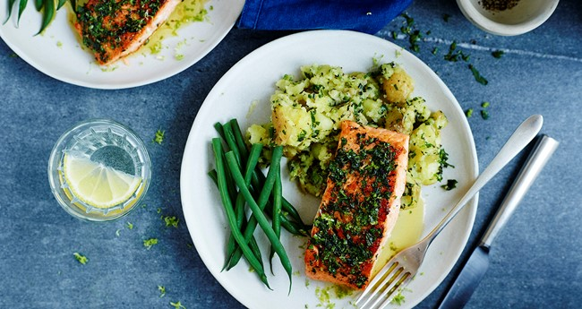 Crushed new potatoes with pan fried lime salmon steaks recipe