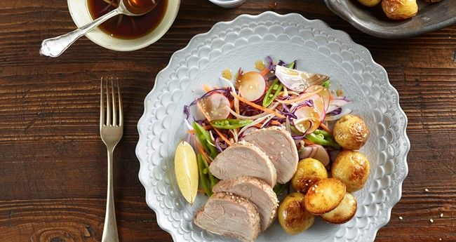 Roasties with a Quick Roast Pork and Asian Slaw Recipe