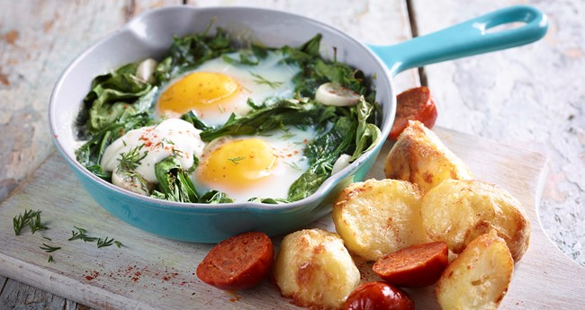 Paprika Roasted Potatoes with Creamy Eggs Recipe