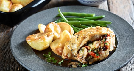 Roasties with Stuffed Chicken Recipe