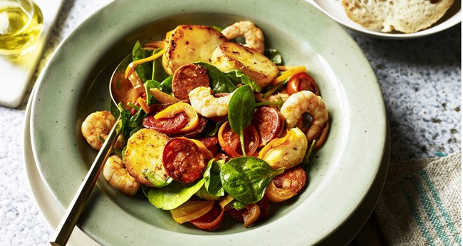 Spanish Potato, Prawn & Chorizo Salad Recipe