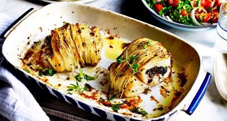 Spiralized Potato Wrapped Cod with Herbs
