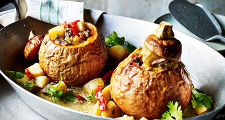 Sweet and spicy Lamb & Potato Filled Squash