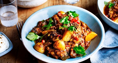 Indian Style Lamb, Potato & Aubergine Dhansak Curry