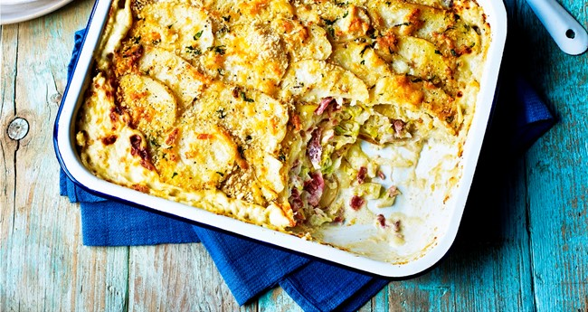 St. Patrick's Day Potato, Bacon & Cabbage Gratin