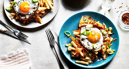 Korean Kimchi potato slaw on sourdough toast, topped with a fried egg
