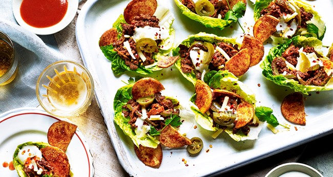 Mexican beef lettuce tacos with potato torilla chips
