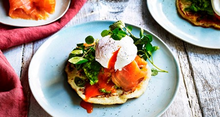 Potato pancake with smashed avocado & smoked salmon