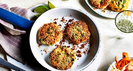 Asian spiced Potato Crab Cakes with Rainbow Slaw
