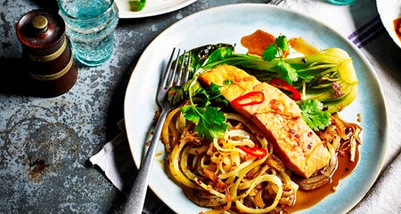 sticky salmon topped potato noodles with pak choi